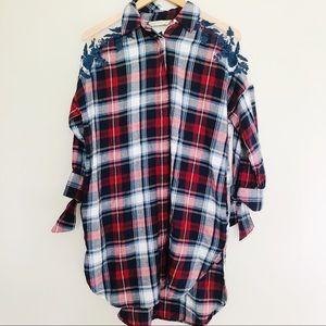 Zara Oversized High Low Plaid Shirt